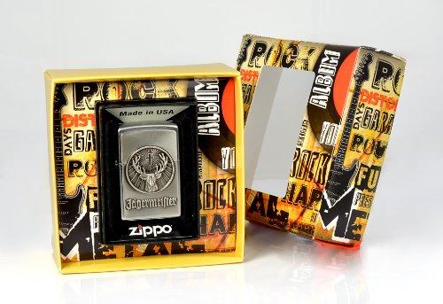 Zippo, Accendino, Premium Gift Set, edizione speciale, motivo: simbolo Jägermeister cromo spazzolato, Argento (Edelstahloptik)