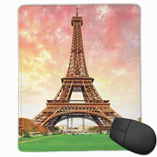 dges, Eiffel Tower Colorful Sky Grass Nature European Clouds Photography Artistic,Gaming Mouse Pad Non-Slip Rubber Base ()