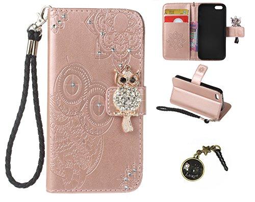 iPhone 5 5S SE Wallet Case iPhone 5 5S SE Flip Hülle Laoke Eule Blumen Muster Handyhülle Schutzhülle PU Leder Case Skin Brieftasche Ledertasche Tasche im Bookstyle in +Staubstecker (11) 3