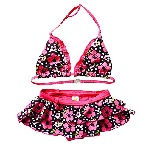 Echinodon Mädchen Bikini Set Zweiteiler Badeanzug mit Rock Blumenmuster Bademode Schwimmanzug 128-134