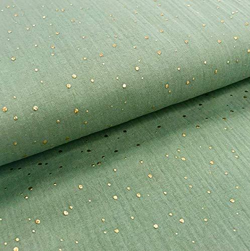 0,5m Musselin Gold Kleckse grau-grün gräuliches grün Meterware 1,4m breit 100% BW 135g/m2