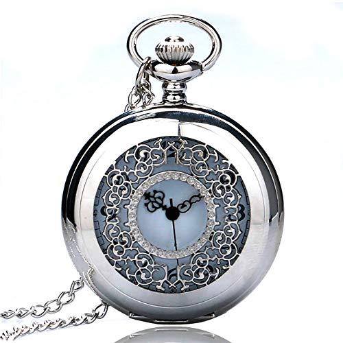 DYH&PW Taschenuhr Antike Hohle Silberne/Schwarze Farbton-Quarz-Taschenuhr-Frauen-Mann-Uhr Analog Farbton