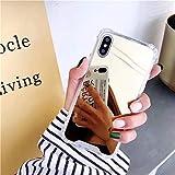Artfeel Miroir Coque pour iPhone XS Max, Très Mince Léger Clair Souple Silicone TPU Pare-Chocs Étui,Anti-Rayures Antichoc Miroir de Maquillage Arrière Housse Couverture-Or