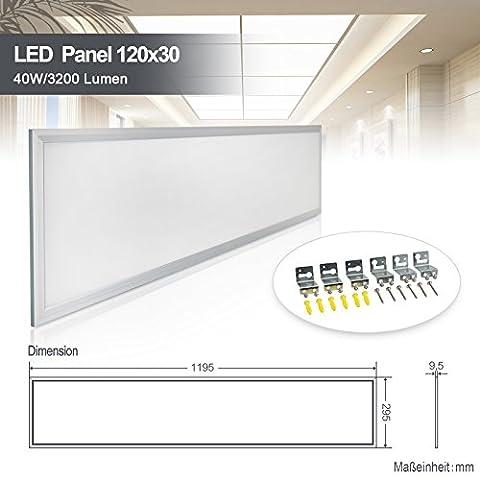 Dalle LED Panneau Luminaire Plafonnier Dimmable 120x30CM Ultra-mince Dalle Luminieuse à LEDs Blanc jour plafonnier à LED Encastrable 40W blanc naturel 4000k Cadre blanc en mat
