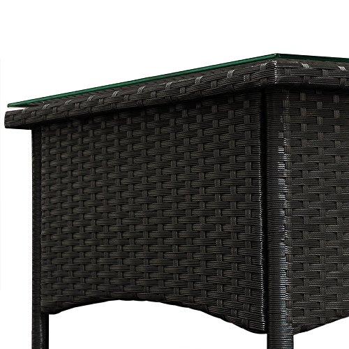 Polyrattan Tisch Beistelltisch Rattan Teetisch Gartentisch Glasplatte 50x50x45cm schwarz Garten Möbel - 4