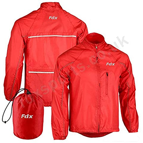 FDX Mens Waterproof Cycling Jacket Breathable Lightweight High Visibility Jacket (Red, Medium)