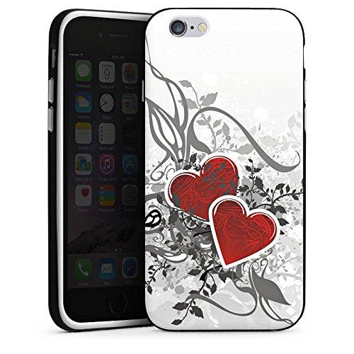 Apple iPhone X Silikon Hülle Case Schutzhülle Liebe Herz Blume Silikon Case schwarz / weiß