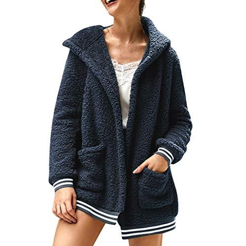 Smonke Damen Winter Fleece Bluse mit Langen Ärmeln Plüsch Strickjacke mit Kapuze Tasche Warm halten Mantel einfarbig Sweatershirt Fashion Tops Elegant Outwear -