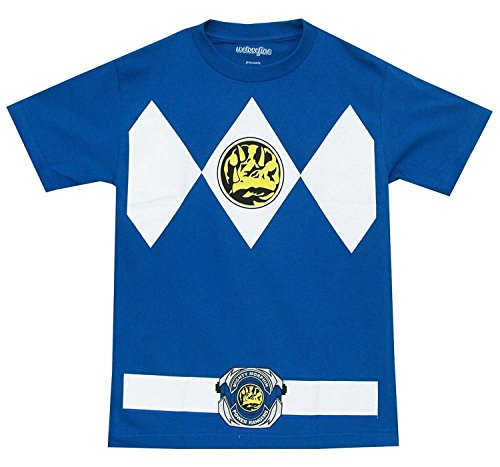 Power Rangers blau Rangers Kostüm Erwachsene T-Shirt, X-Large