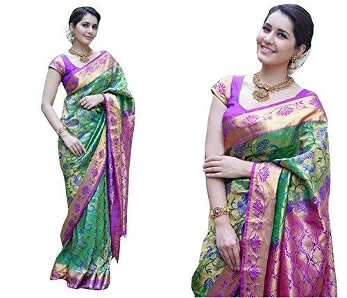 Brahmani Enterprise silk saree digital print with bloues Piece