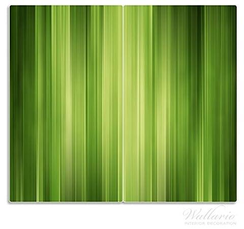 Wallario Herdabdeckplatte / Spritzschutz aus Glas, 2-teilig, 60x52cm, für Ceran- und Induktionsherde, Grün und schwarz gestreift - Abstraktes Streifenmuster