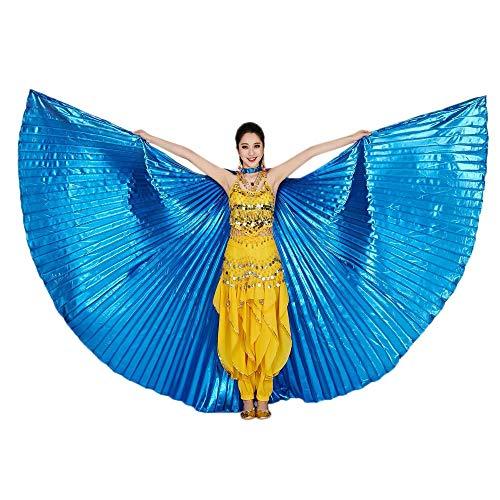 Kostüm Dance Hoop - Chejarity Bauchtänzerin Isis Flügel Einfarbig Orientalischen Tanz Dance Fairy Schmetterlings Wings Multi Color Halloween Cosplay Cosplay Kostüm 360 Grad Bühnenauftritte Zubehör (142CM, Blau)