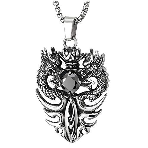 COOLSTEELANDBEYOND Vintage Dragón Loto Espada Medalla Colgante con Negro Cúbico Zirconia, Collar de Hombre, Acero, Cadena de Trigo 75CM