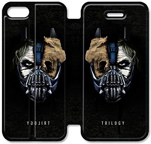 Schlag PU-Leder-Kasten-Standplatz für iPhone 5 5S Hülle, Diy 5 5S Hülle Handy-Fall Batman The Joker Villains Masken Artwork Bane G2D1CO iPhone Ledertasche Kundenspezifische Zurück (Diy Batman Maske)