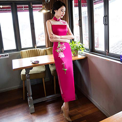 YAN Damendress Polyester Sexy Mutter Cheongsam Fashion Retro Daily Kostüm-Hochzeit Party & Evening Red Black Yellow,Pink,M