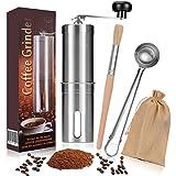 LUWANZ Kaffeemühle manuell Kaffeemühle Hand mit Keramikmahlwerk 1 Kaffeemühle + 1 Kaffeedosierlöffel Edelstahl + 1 Reinigungsbürste + 1 Tragetasche, genießen Sie Selber gemahlten Kaffee