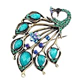 Best Vintage Scarves - Vintage Style Peacock Shape Brooch Pin Rhinestone Covered Review