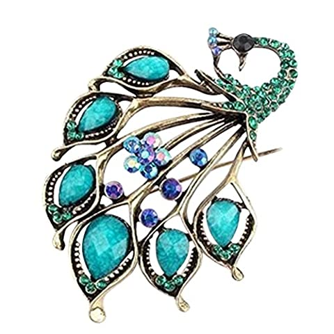 Vintage Style Peacock Shape Brooch Pin Rhinestone Covered Scarves Shawl Clip For Women Ladies Green