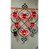 Wall Iron Candle Holder With Eight Glass