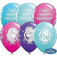 "Disney Frozen Happy Birthday 11"" Qualatex Latex Balloons x 5"