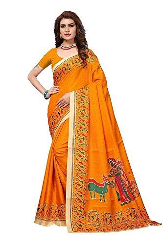 Fashionesta Latest Women Cotton Silk Saree with Extra Broket Blouse(10 COLOR) (Orange)