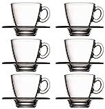 Pasabahce 95040 - 12-tlg Set Tassen mit Unterteller Aqua