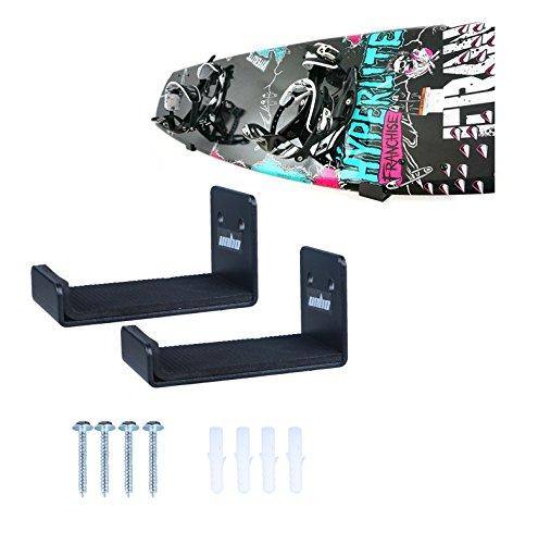 Unho®una coppia x supporto per tavole da snowboard della parete,con rivestimento protettivo, mensola minimalista gancio per tavole da surf / snowboard / wakeboard / kiteboard / longboard / skateboard / wakeskate / skimboard, in alluminio acciaio