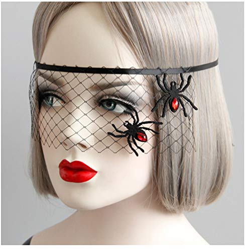 PROM Maske Mesh Spider Prinzessin Exquisite High-End-Halloween Halb Gesicht Maskerade Party Halloween Spider ()