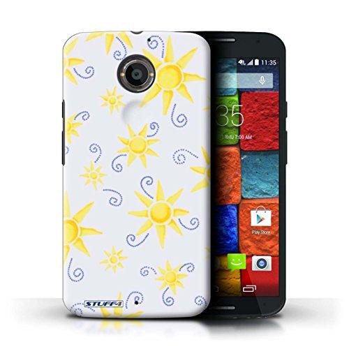 Kobalt® Imprimé Etui / Coque pour Motorola Moto X (2014) / Orange/Jaune conception / Série Motif Soleil Jaune/Blanc