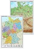 Posterkarten Geographie: Posterkartenset Deutschland: bestehend aus Posterkarte Deutschland physisch + Posterkarte Deutschland politisch