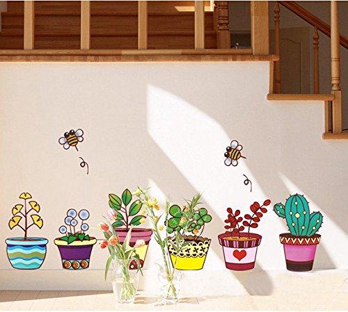 ufengker-plantas-en-macetas-de-colores-y-abejas-lindas-pegatinas-de-pared-sala-de-estar-dormitorio-r