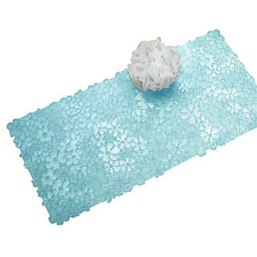 mDesign - Flower - Tapete antideslizante, con ventosas, para el cuarto de baño; para el cubículo de ducha, bañera - Azul