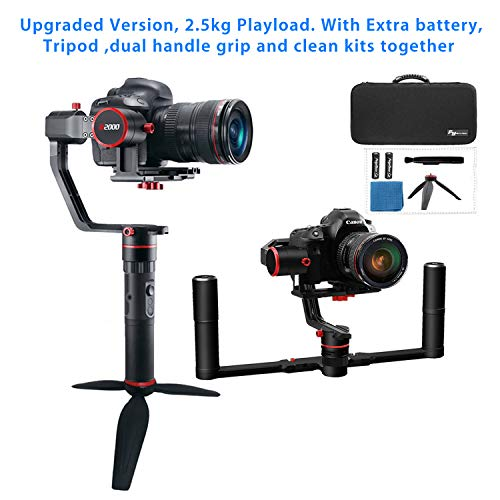 Feiyutech A2000 Upgraded Dual Grip Handle Kit for Ony/DSLR Camera, Foldable Handle,Compatible with Nikon/SCANON Series Camera and Lens, 2.5KG Payload, Including Tripod and Extra Battery Dslr, Dual Lens