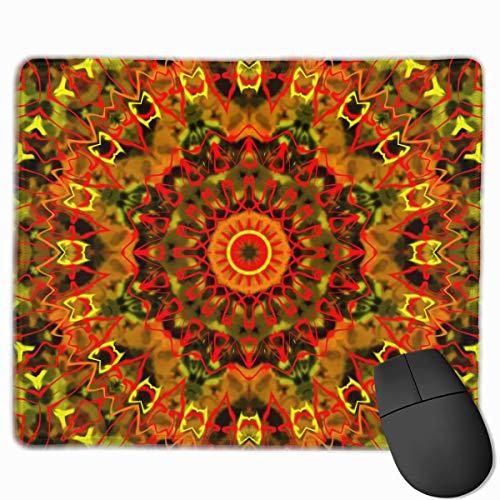 chteck Rutschfeste Gummi Gaming Mousepad (rot-orange und gelb Kaleidoskop, 11,81 x 9,84 Zoll) ()