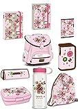 11tlg. Schmetterling Schulranzen Set Schmetterling Schulranzen+Brotdose+Flasche+Federmappe+Federtasche+Stickers+Turnbeutel EDEL