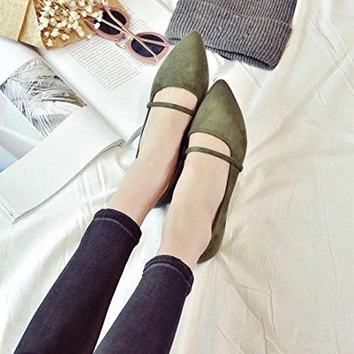 Saingace Art- und Weisefrauen-beiläufige bequeme spitze Zehe-Gummi-flache Schuh-Ebenen Grün