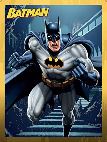 Batman. Caja metálica: Libro de aventuras · Libro para colorear · Libro de actividades · Más de 50 pegatinas · Un póster doble · 4 Rotuladores