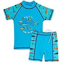 Huanqiue-Bañador de niño, 3-12años, dos piezas, anti-UV, 3colores, azul, 9-10Y(Tag No.140/146)