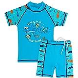 Huanqiue Badeanzug, Jungen, 3–12Jahre, 2-teilig, UV-Schutz, 3Farben, blau, 7-8Y(Tag No.128/134)