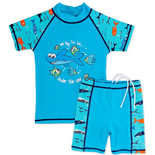 HUANQIUE Boys 3-12 Years Two Piece 50+UV Swimsuit Costume 7-8Y Blue