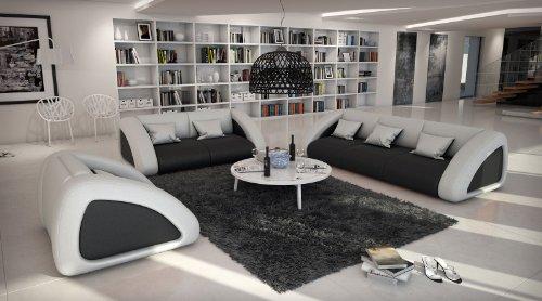 SAM Sofa Garnitur Ciao Combi 3-2-1 schwarz /weiß / weiß designed by Ricardo Paolo Wohnlandschaft futuristisch Wohnzimmer Sofa Landschaft mit Dreisitzer...