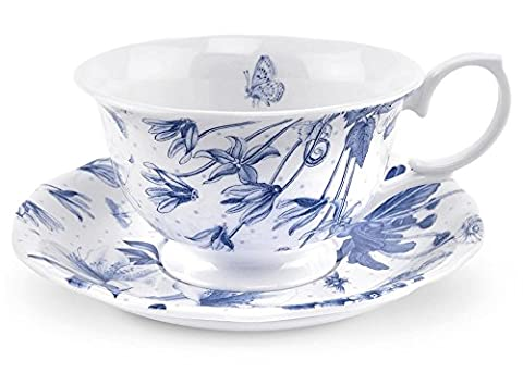 Portmeirion Botanic Blue Teacup and Saucer 170ml/6oz Capacity Porcelain Ceramic Formal Vintage Style Tableware, Round Cup & Scalloped Plate Dishwasher & Microwave Safe