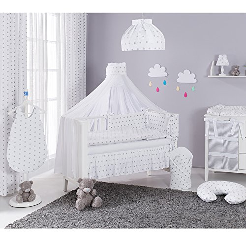 Sevira kids–set di 2tende in 100% cotone per cameretta dei bambini–stars