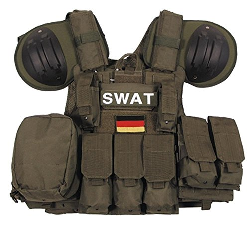 MFH Weste, Combat diverse Taschen, oliv, größenverstellbar
