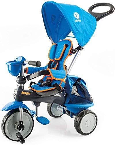 QPLAY PL Ociotrends 120T Triciclo Ranger Azul Acolchado con Bolso Y Capota 73X48X98 CM, Bebés Unisex...