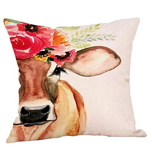 zug Kissenhülle Kopfkissenbezug Tiere Ölgemälde Kuh Drucken Super Weich Home Dekoration Pillowcase Sofakissen für Wohnzimmer Sofa Bed,45x45cm (A) ()