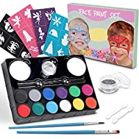 lenbest Face Paint Set for Kids, 12 Color Kit with 24 Stencils, 1 Glitter, 2 Sponges & 2 Eyeshadow Sticks - Ultimate Face Painting Party Palette - Non-Toxic - Hypoallergenic - Water Based