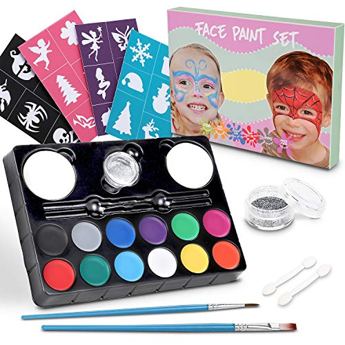 Lenbest Kinderschminken Schminkfarben, 12er Schminkset Kinder Wit 1 Glitzer, 2 Pinsel, 2 Schwämme, 2 Lidschatten-Sticks und 24 malerschablonen - Kinder Parties Halloween Karneval Make-up Bodypainting