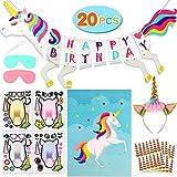 Bascolor Unicornio Cumpleaños Accesorios Cumpleaños Pancarta Diadema Unicornio Hacer un Unicornio Pegatinas Pin el Cuerno en el Juego Fiesta Piñata Unicornio Cumpleaños Niña