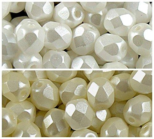200 Perlen 2 Farben Einzigartige Set 6S FP 224, Tschechische Facettierten Glasperlen Fire-Polished Rund 6 mm, 6FP5001 6FP5110 -